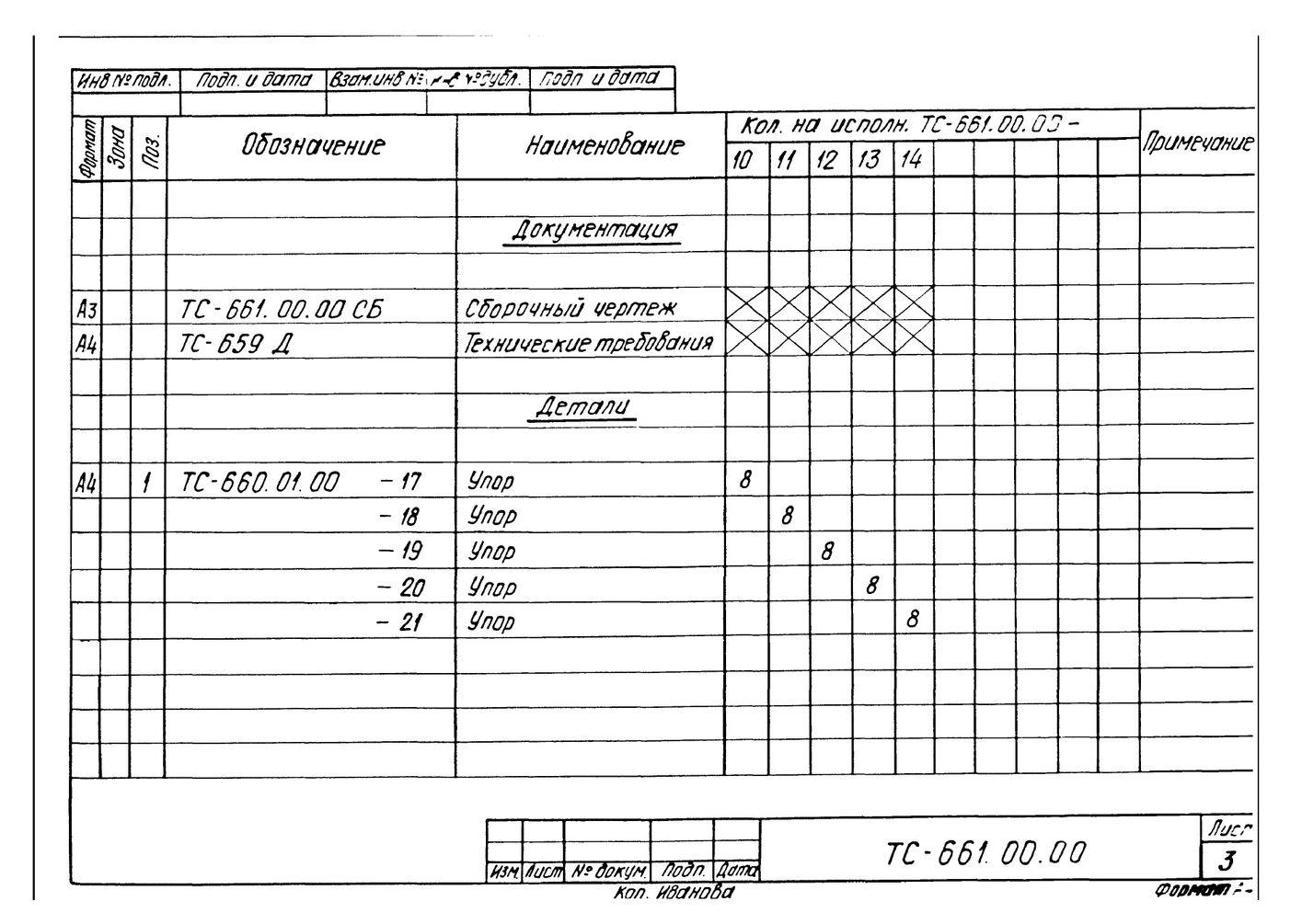 Опора неподвижная четырехупорная ТС-661.00.00 серия 5.903-13 выпуск 7-95 стр.5