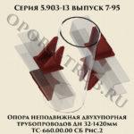 Опора неподвижная двухупорная трубопроводов Дн 32-1420 мм ТС-660.00.00 СБ серия 5.903-13 выпуск 7-95 рис.2