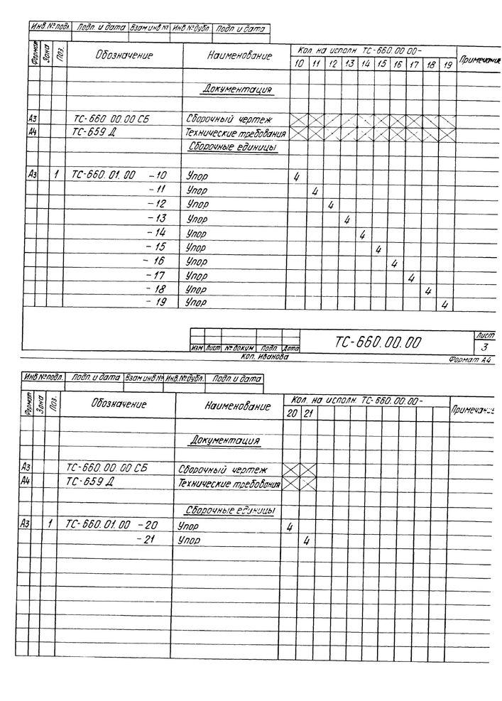 Опора неподвижная двухупорная ТС-660.00.00 серия 5.903-13 выпуск 7-95 стр.5