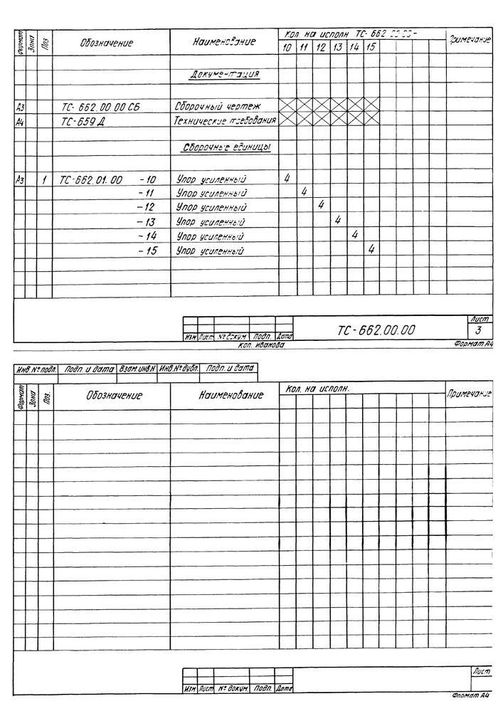 Опора неподвижная двухупорная усиленная ТС-662.00.00 серия 5.903-13 выпуск 7-95 стр.5