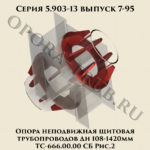 Опора неподвижная щитовая трубопроводов Дн 108-1420 мм ТС-666.00.00 СБ серия 5.903-13 выпуск 7-95 рис.2