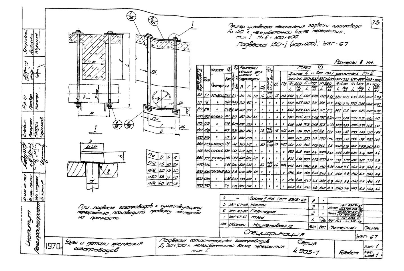 Подвеска горизонтальных газопроводов Ду50-700 к железобетонной балке перекрытия Тип-1 УКГ-67 серия 4.905-7