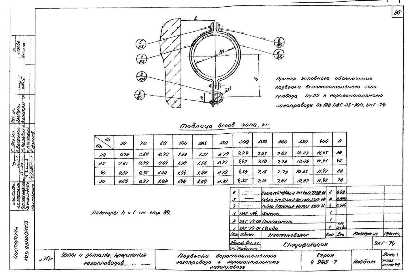 Подвеска вспомогательного газопровода к горизонтальному газопроводу УКГ-74 серия 4.905-7