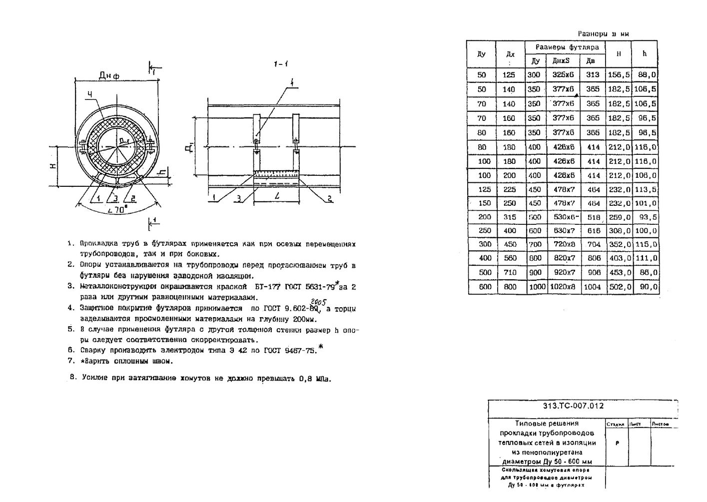 Скользящая хомутовая опора для трубопроводов Ду50-600 в футлярах 313.ТС-007.012