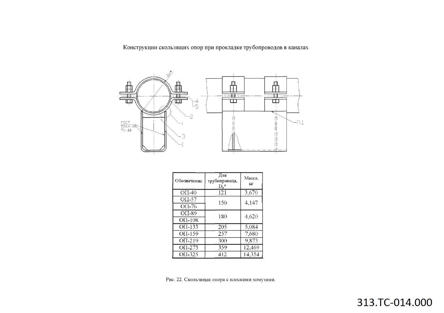 ТС.313-014-000 Скользящая опора с плоскими хомутами ОП