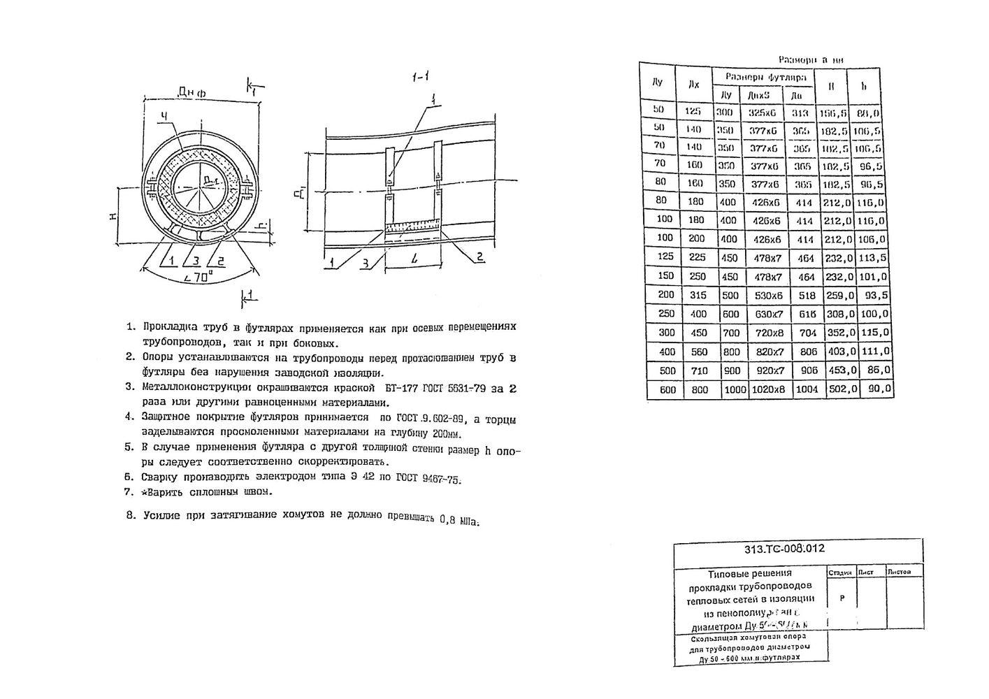 Скользящая хомутовая опора для трубопроводов Ду50-600 мм в футляре 313.ТС-008.012