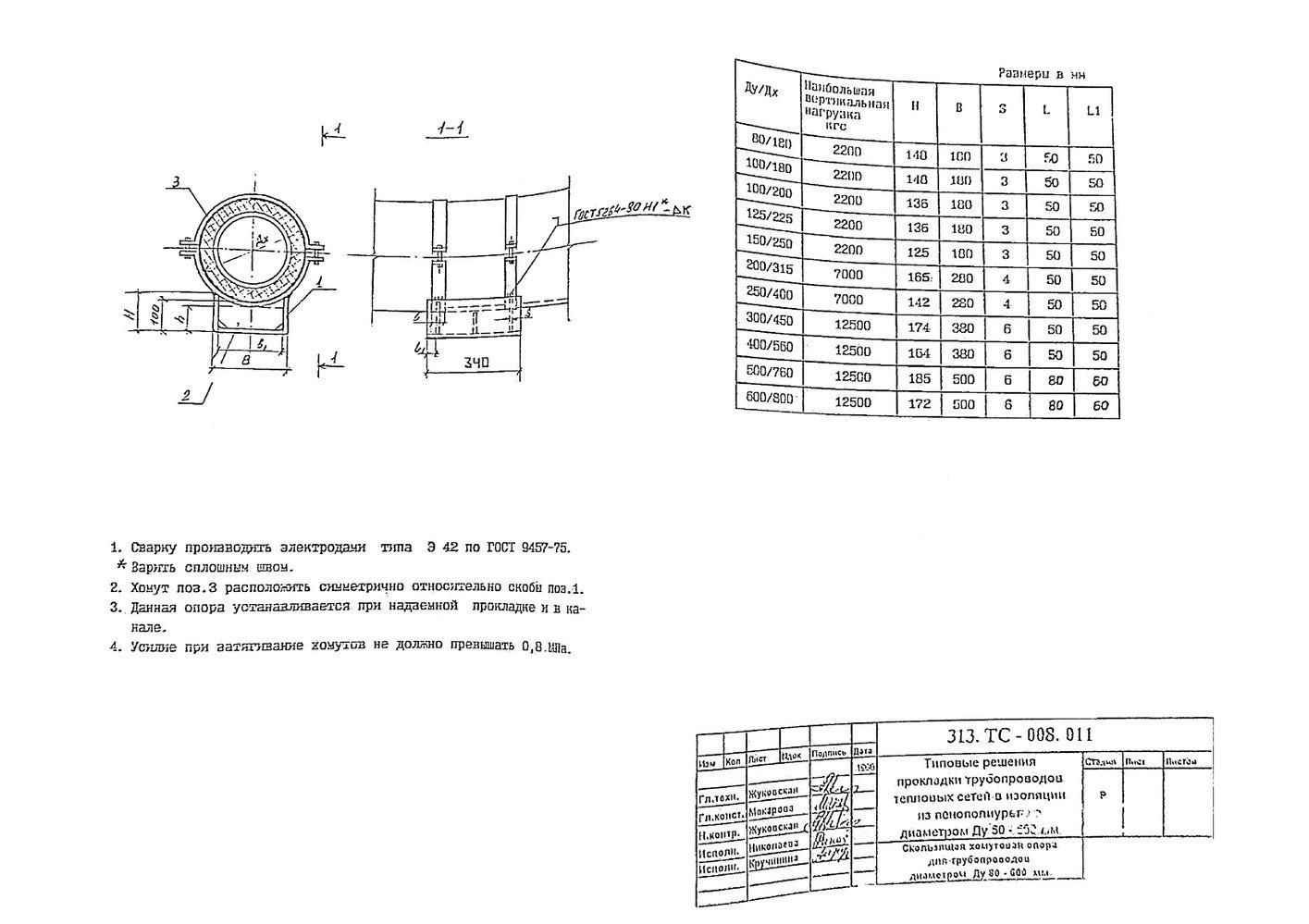 Скользящая хомутовая опора для трубопроводов Ду80-600 313.ТС-008.011