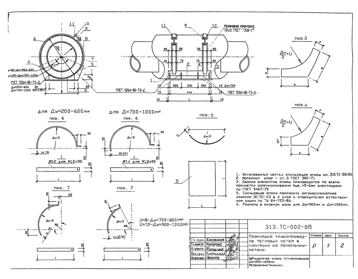 Скользящие опоры теплопроводов Ду200-1000 мм 313.ТС-002-015 стр.1