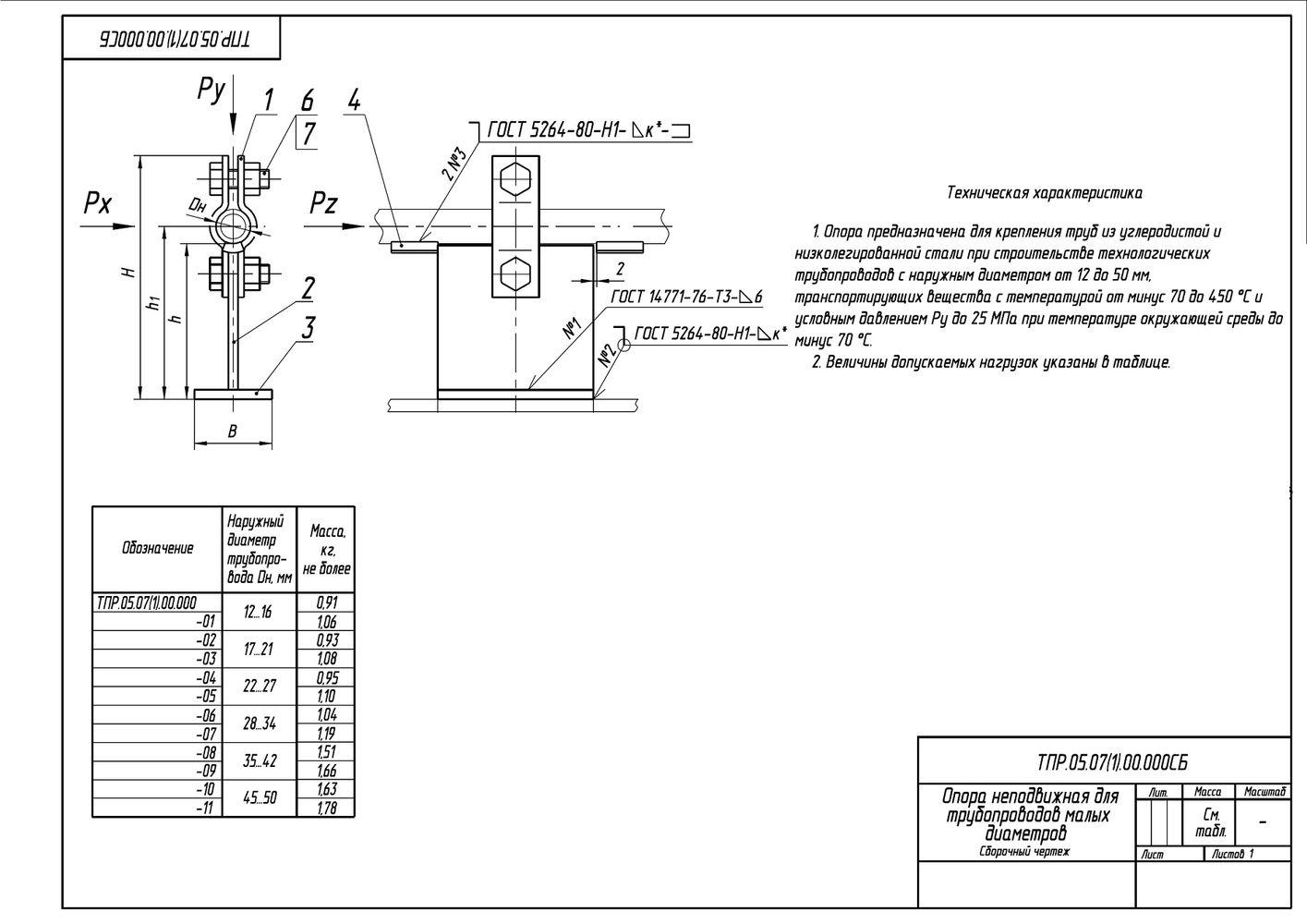ТПР.05.07(1).00.000 Опора неподвижная для трубопроводов малых диаметров Дн12-50 мм