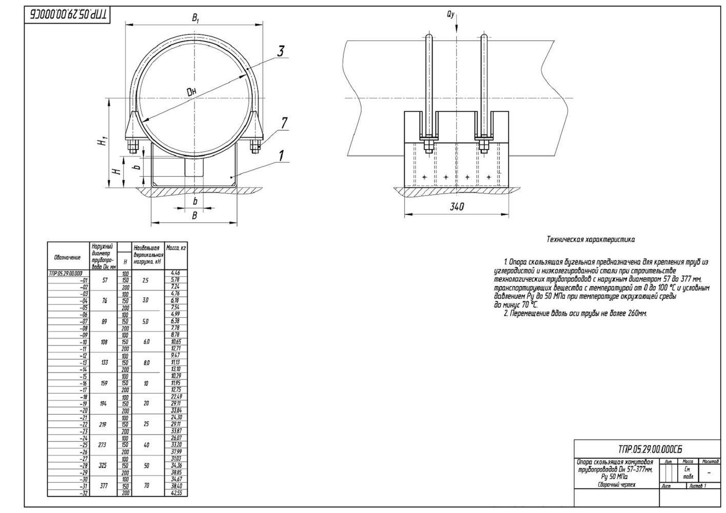 ТПР.05.29.00.000 Опоры скользящие хомутовые трубопроводов Дн 57-377 мм