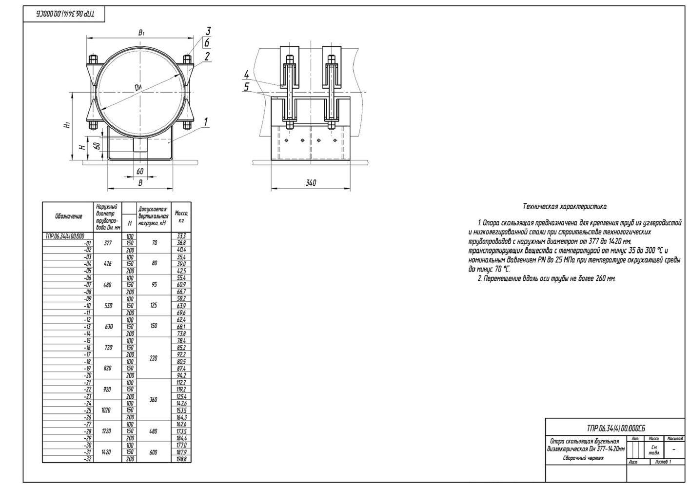 ТПР.06.34(4).00.000 Опоры скользящие бугельные диэлектрические трубопроводов Дн 377-1420 мм