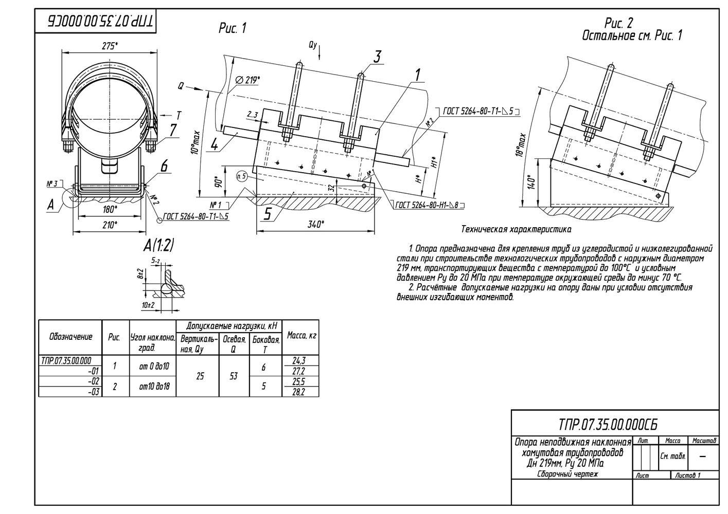 ТПР.07.35.00.000 Опоры неподвижные наклонные хомутовые трубопроводов Дн 219 мм