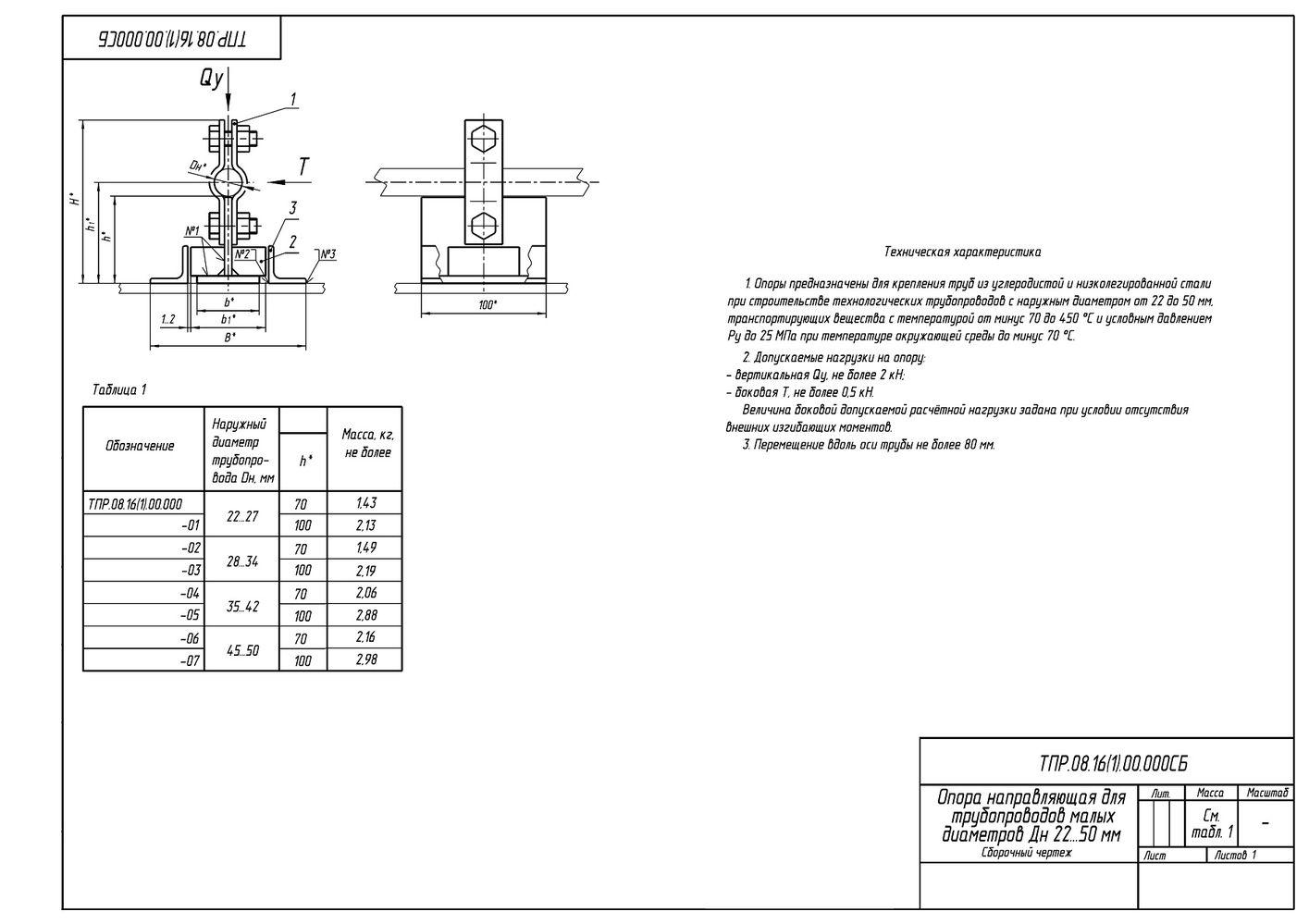 ТПР.08.16(1).00.000 Опоры направляющие для трубопроводов малого диаметра Дн 22-50 мм