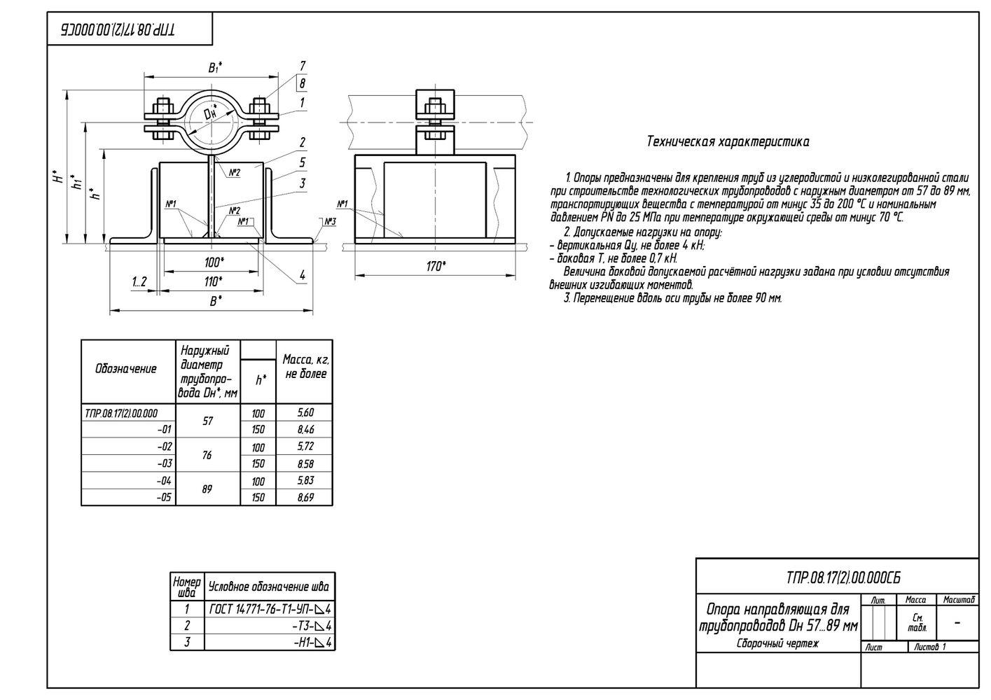 ТПР.08.17(2).00.000 Опоры направляющие для трубопроводов Дн 57-89 мм