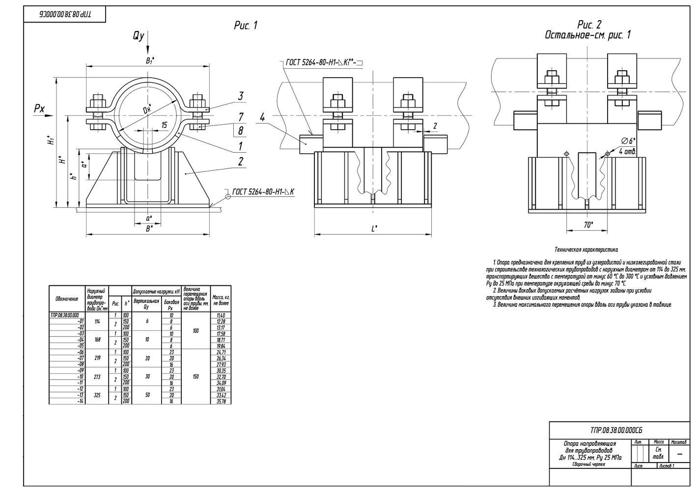 ТПР.08.38.00.000 Опоры направляющие для трубопроводов Дн 114-325 мм