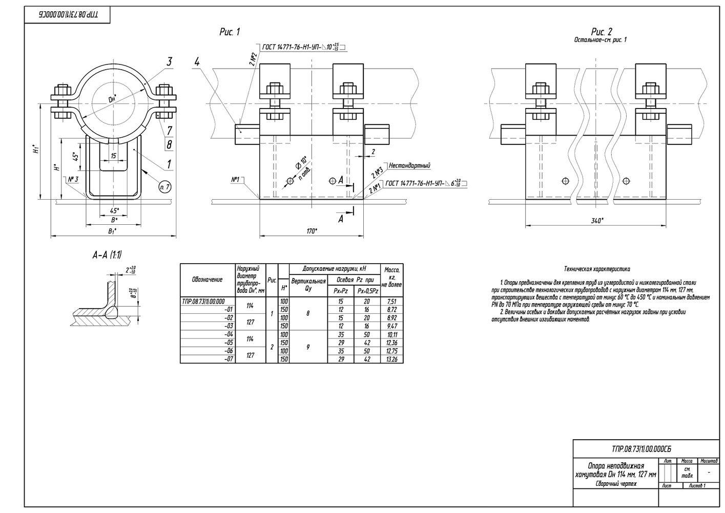 ТПР.08.73(1).00.000 Опоры неподвижные хомутовые трубопроводов Дн 114, 127 мм