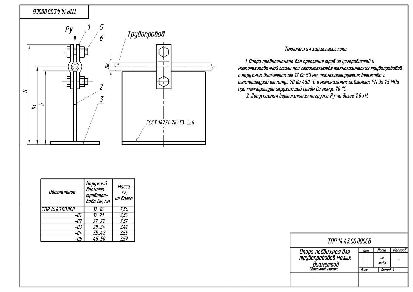 ТПР.14.43.00.000 Опоры подвижные для трубопроводов малых диаметров Дн 12-50 мм