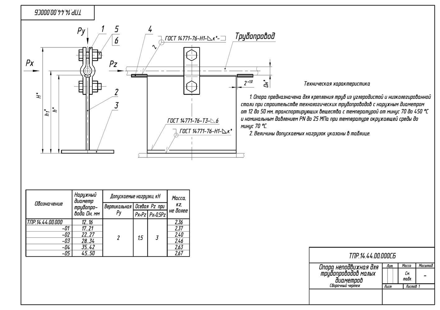 ТПР.14.44.00.000 Опоры неподвижные для трубопроводов малых диаметров Дн 12-50 мм