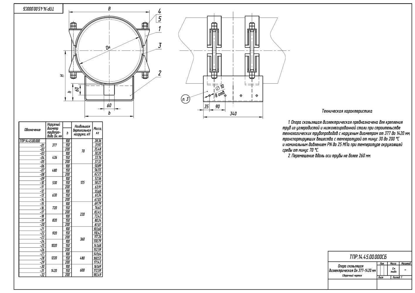 ТПР.14.45.00.000 Опоры скользящие диэлектрические трубопроводов Дн 377-1420 мм