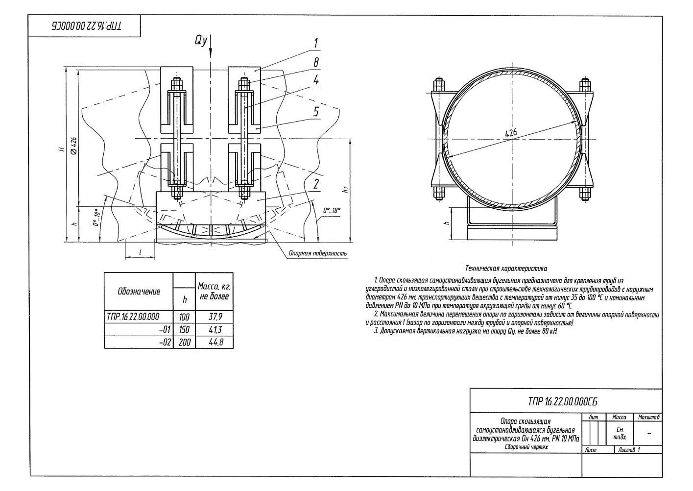 ТПР.16.22.00.000 Опоры скользящие самоустанавливающиеся бугельные диэлектрическая трубопроводов Дн 426 мм