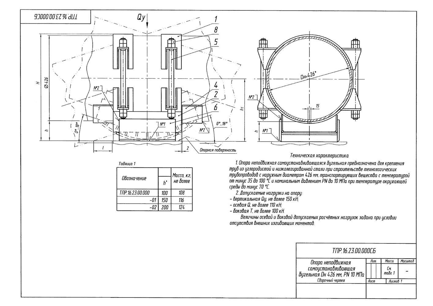 ТПР.16.23.00.000 Опоры неподвижные самоустанавливающиеся бугельные трубопроводов Дн 426 мм