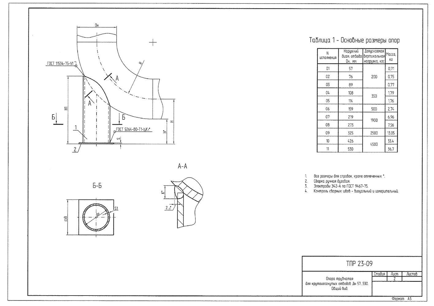 ТПР 23-09 Опора трубчатая для крутоизогнутых отводов Дн 57-530